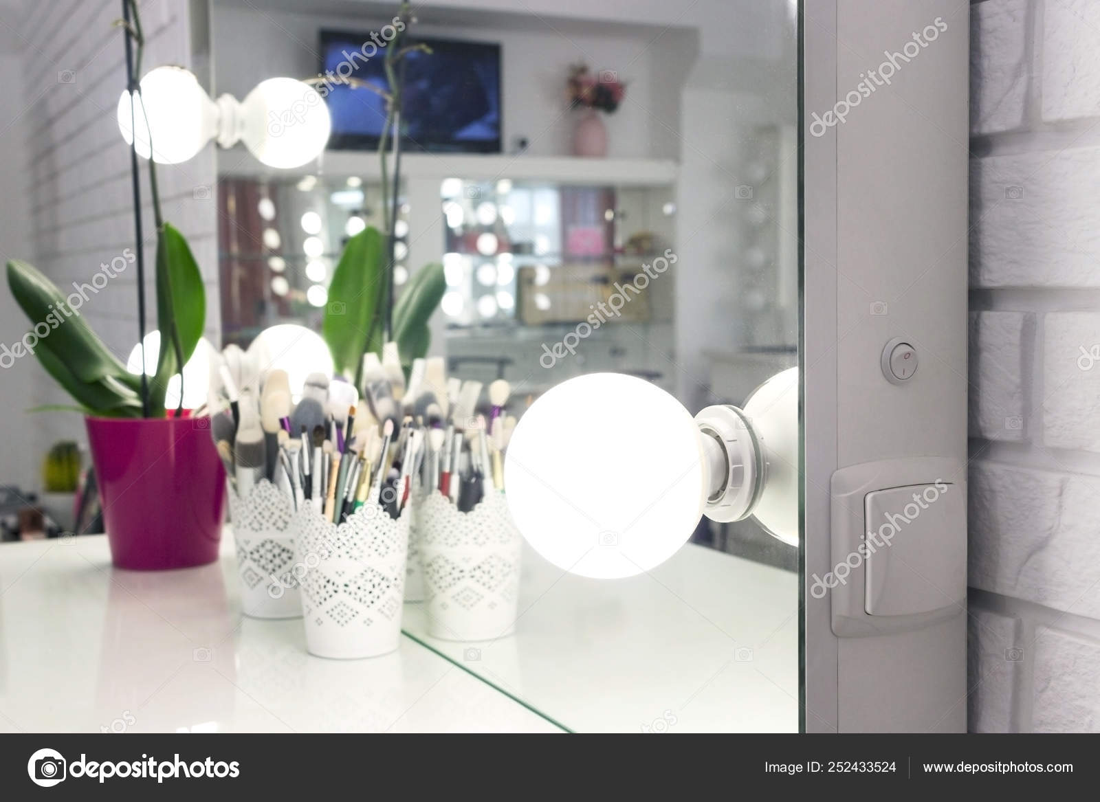 Interior Of A Beauty Salon Room With Makeup Mirror Lights And Black Chair Stock Photo Image By C Kirilyukrm Yahoo Com 252433524