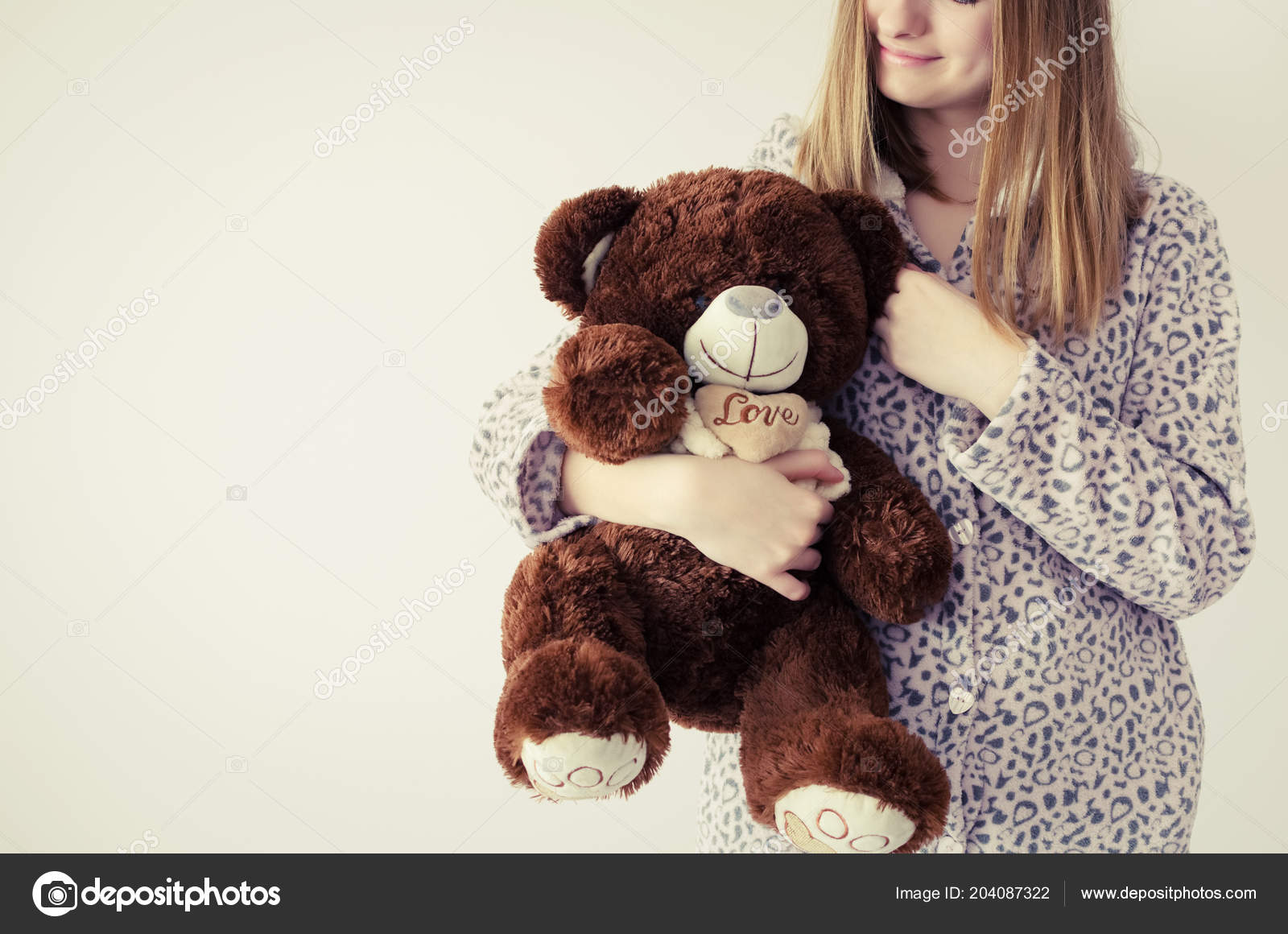 Happy Young Woman Blonde Hair Embrace Stuffed Animal Toy Favorite