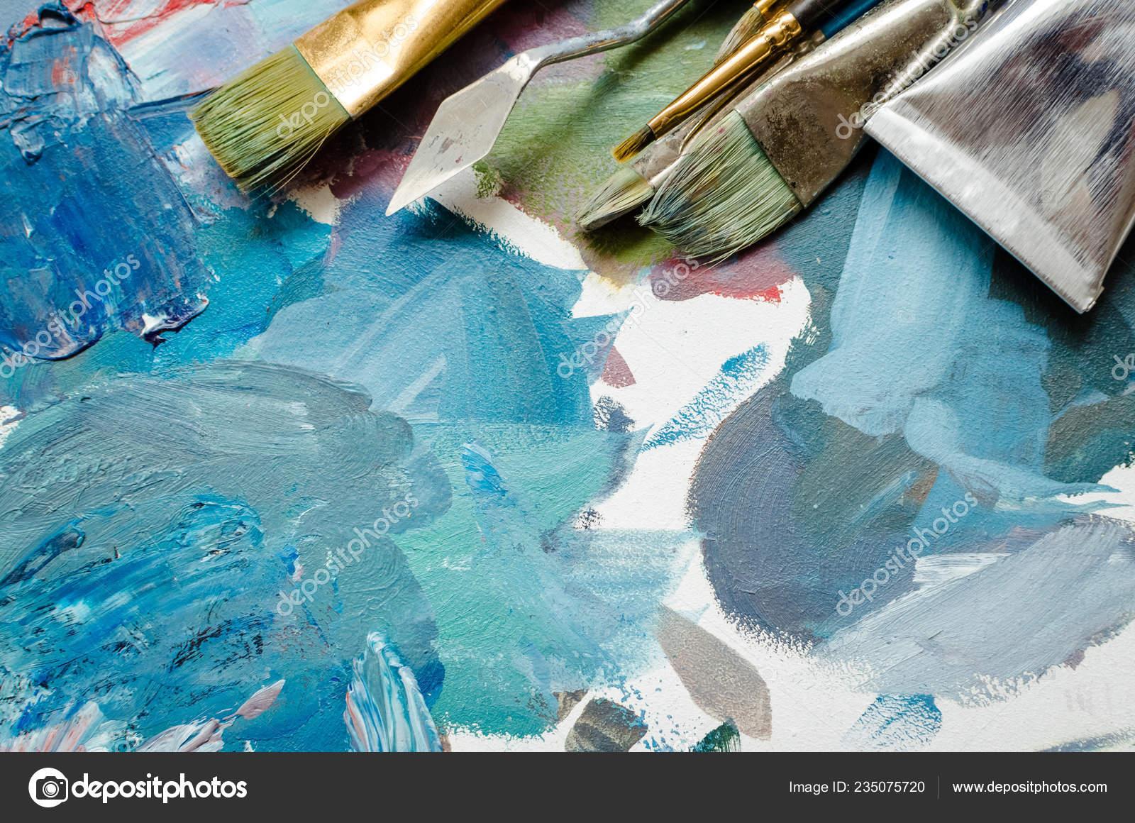 Peindre Palette Bois Simple Artiste Peinture Pinceaux Et Tubes De