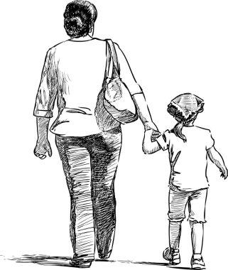 """Картина, постер, плакат, фотообои """"скетч матери с маленькой дочкой, идущей на прогулку """", артикул 286601362"""