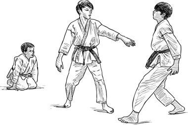 Sketch of teen boys in wrestling training in gym