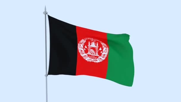 Afghanistan. The flag of the country flutters against the blue skyAfghanistan. The flag of the country flutters against the blue sky. 3D rendering