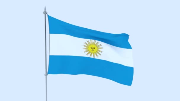 Flag of the country Argentina flutters against the blue sky. 3D rendering