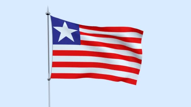 Flag of the country     Liberia  flutters against the blue sky. 3D rendering