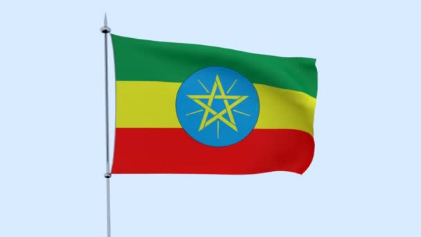 Flag of the country   Ethiopia  flutters against the blue sky. 3D rendering