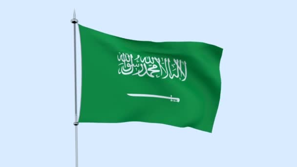 Flag of the country    Saudi Arabia  flutters against the blue sky. 3D rendering