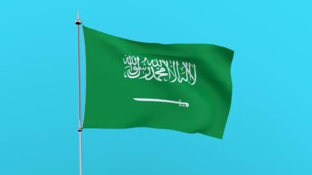 Vlajka země Saudská Arábie na modrém pozadí. prostorové vykreslování