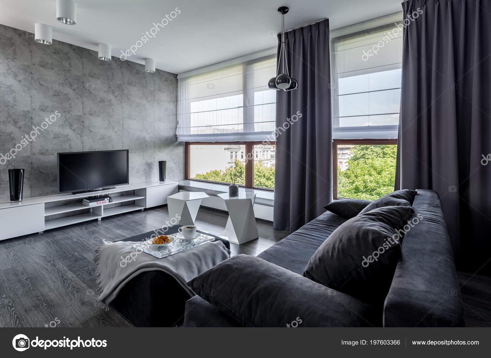 Moderne Wohnzimmer Mit Couch Neuen Design Couchtisch Und Großen ...