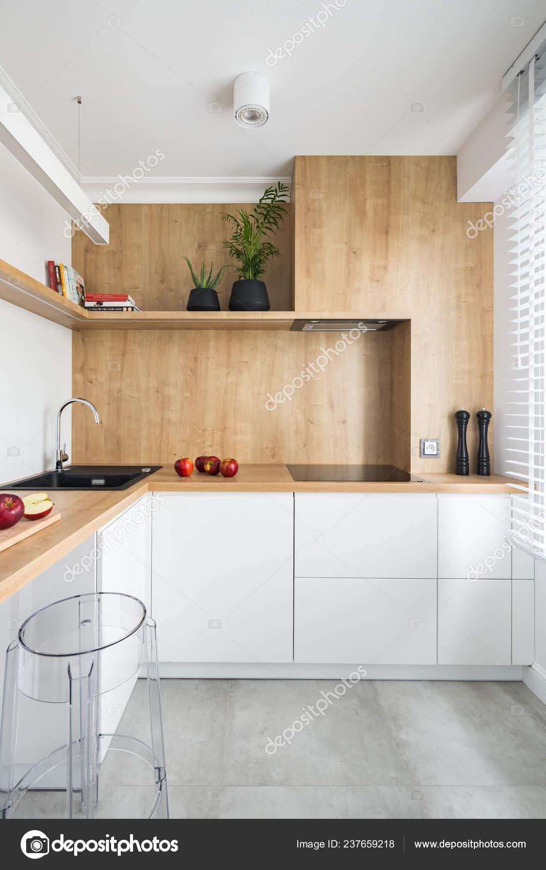White Modern Kitchen Wooden Furniture Big Window — Stock ...