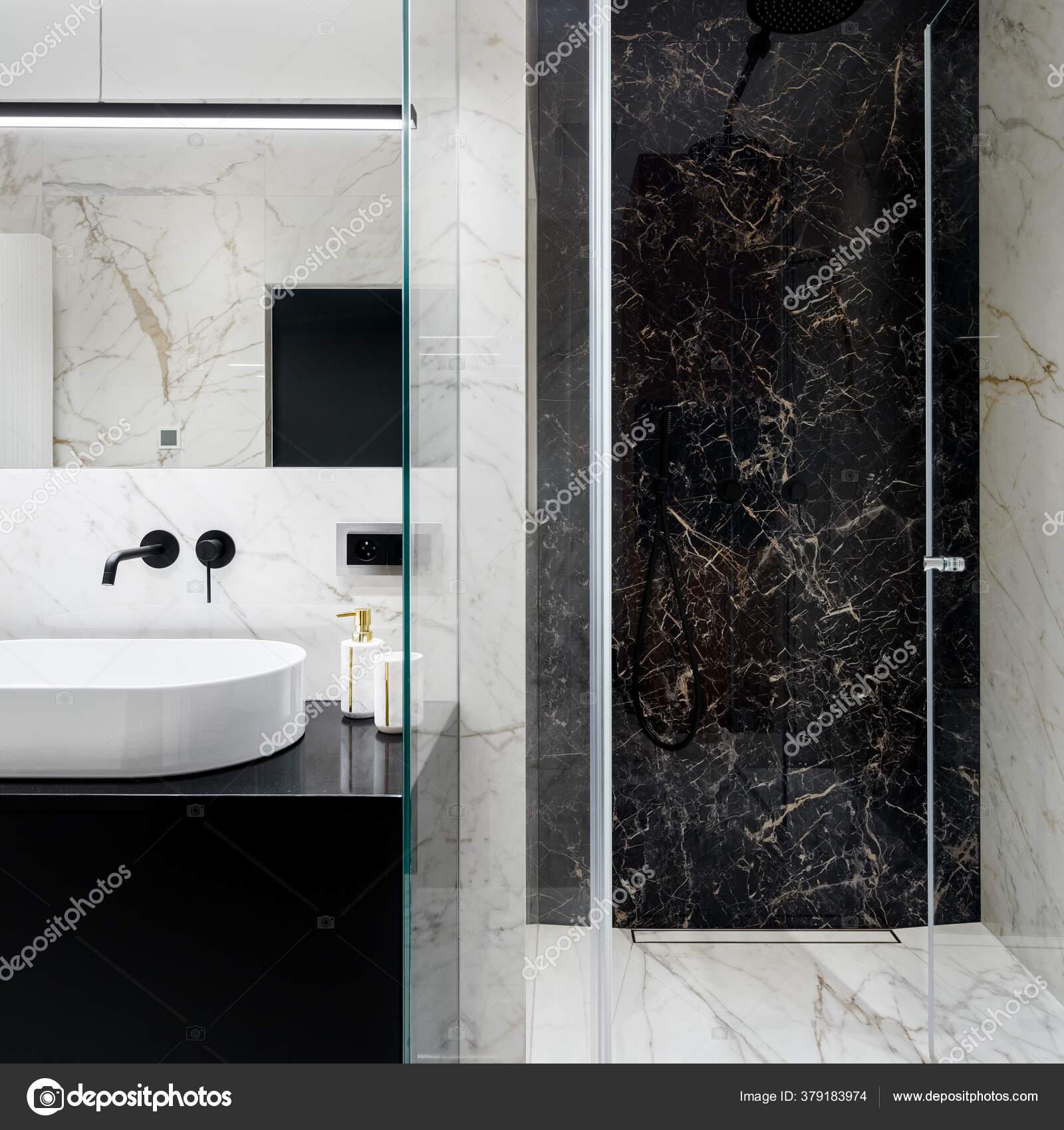 Elegant Bathroom Spacious Shower Black White Marble Tiles Walls Floor Stock Photo C In4mal 379183974