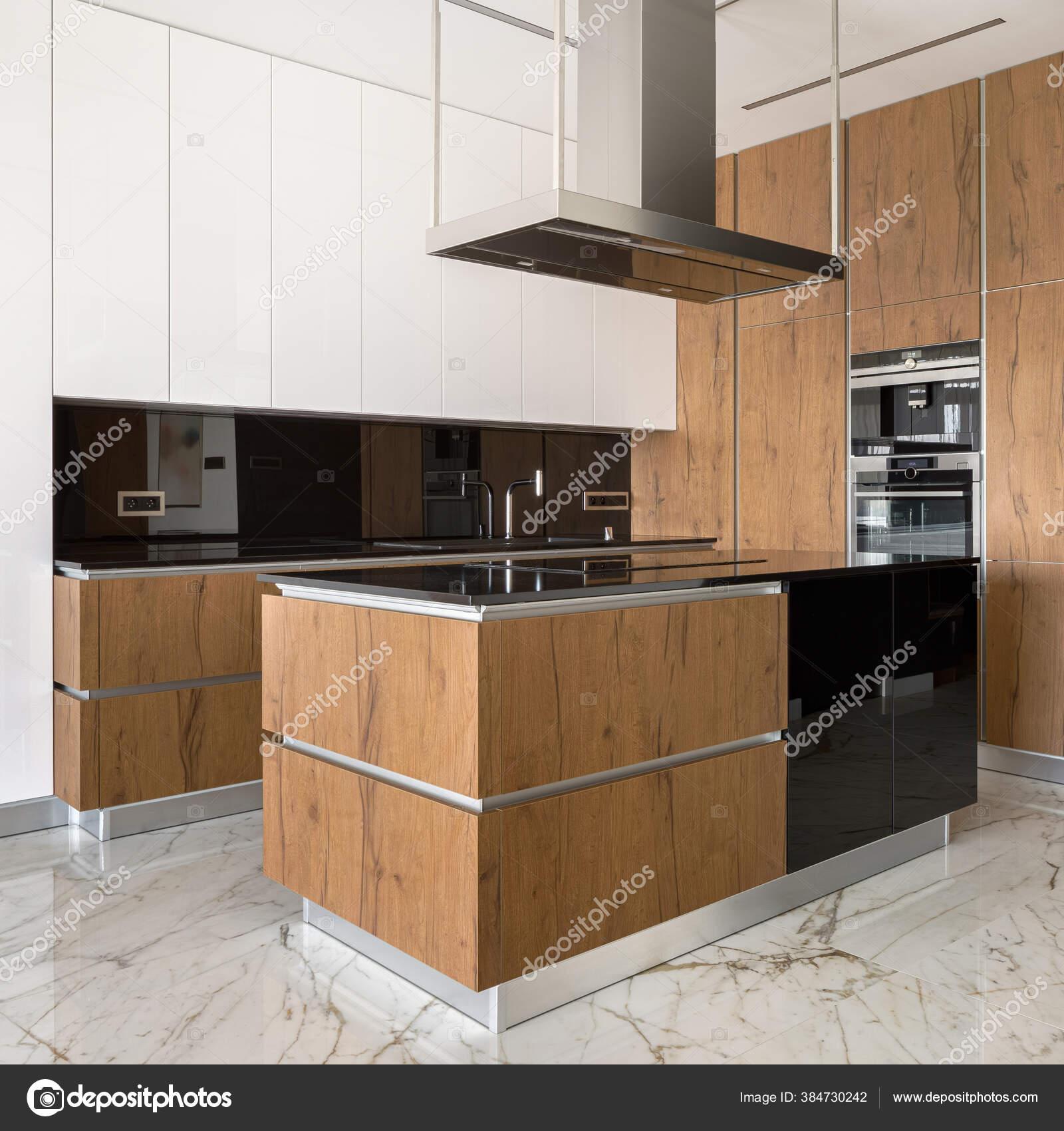 Modern Elegant Kitchen Marble Floor Tiles Wooden White Furniture Kitchen Stock Photo C In4mal 384730242