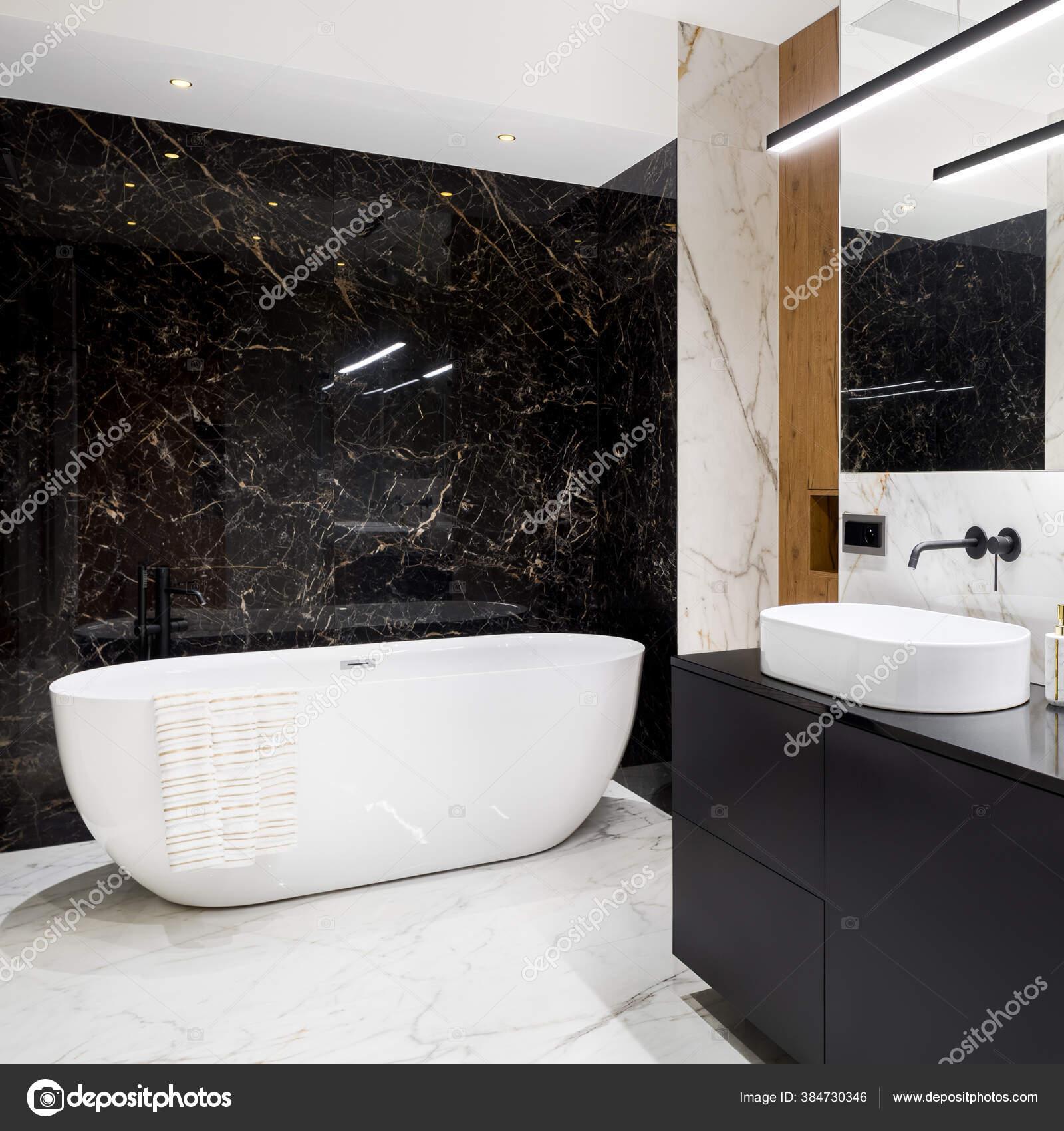 Luxury Stylish Bathroom Black White Marble Tiles Big Oval Bathtub Stock Photo C In4mal 384730346