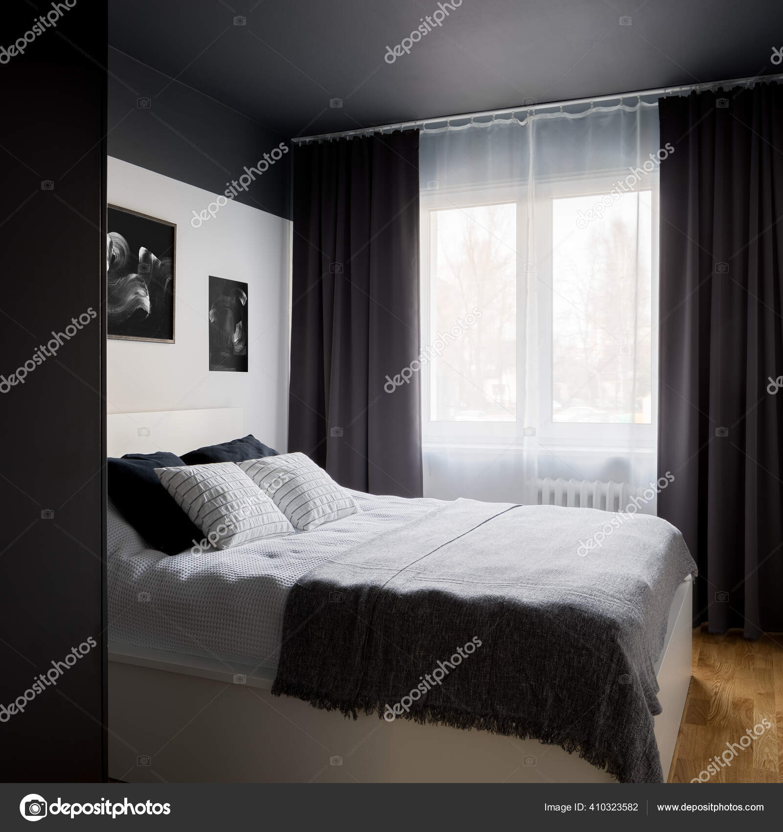 Small Stylish Designed Bedroom Modern Black Ceiling White Double Bed Stock Photo C In4mal 410323582