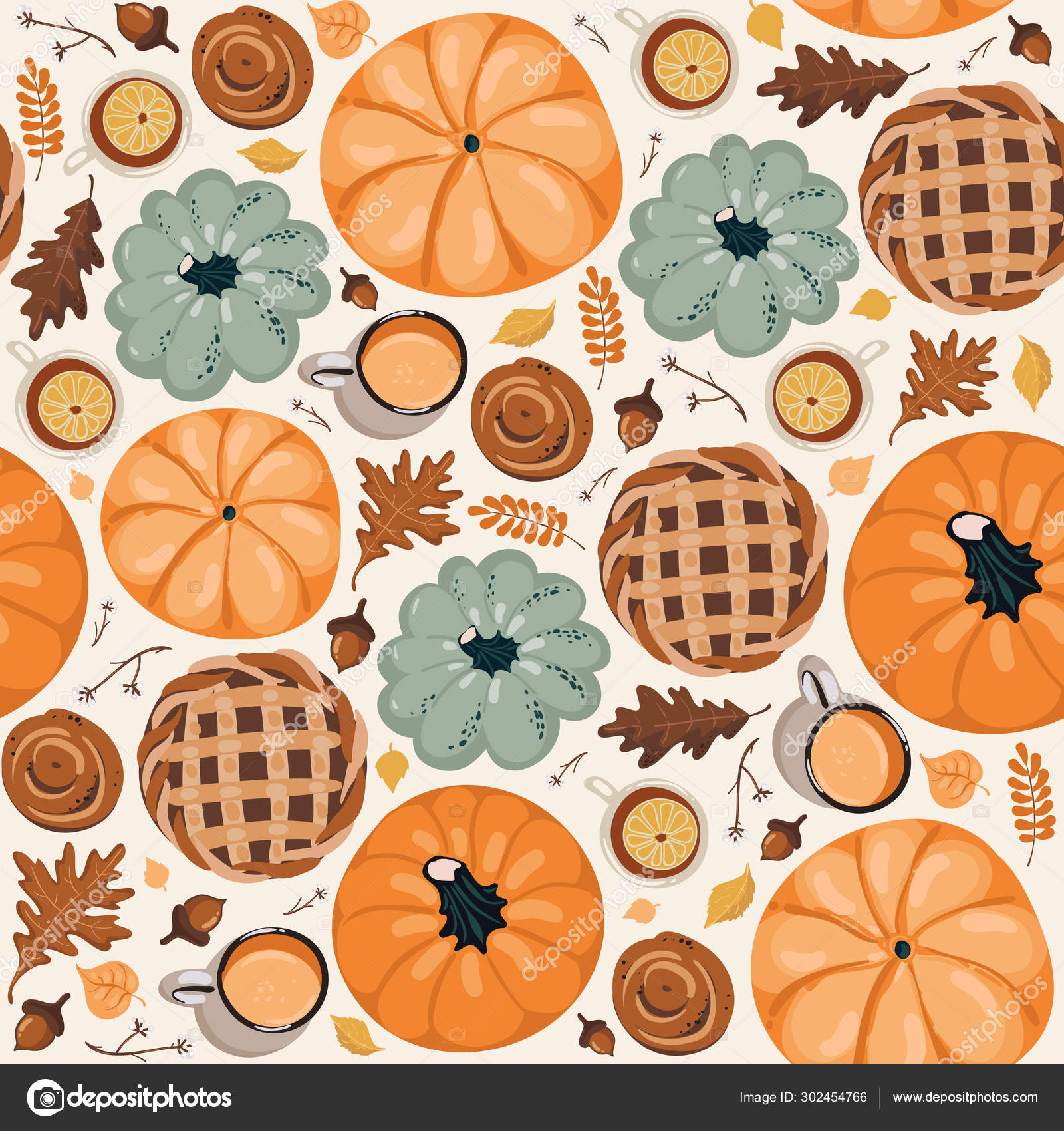 Cute seamless autumn pattern background