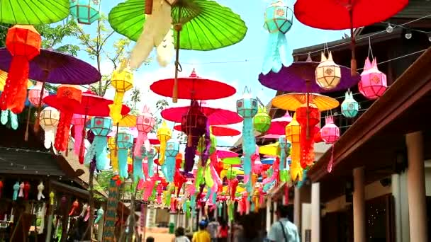 rainbow lamps and umbrellas in northern Thailand Hanging decoration outdoor