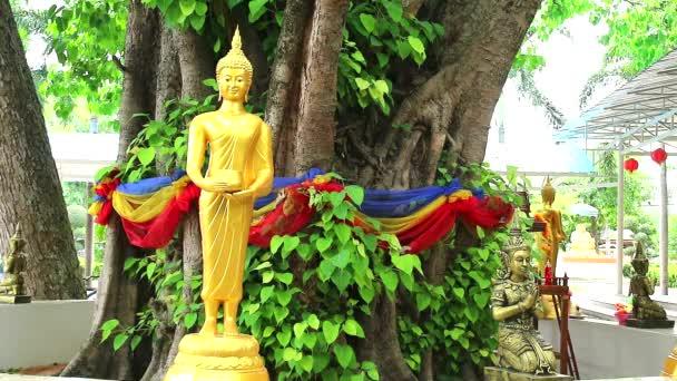 Nabídka jídel k Buddhovu stylu v zahradě v chrámu Nong Kead Yai