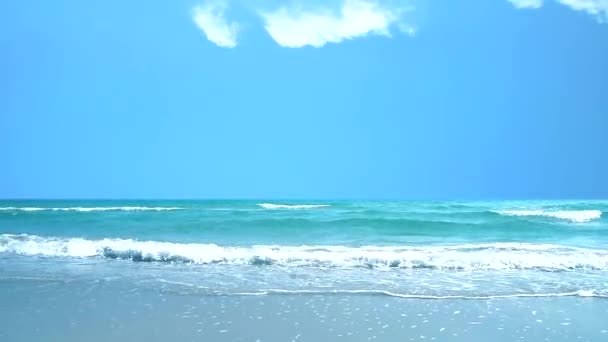 wave move to beach and blue sky white cloud background
