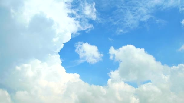 pure clear blue sky background and white cloud moving by wind