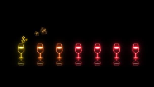 színes kis pezsgő üveg fény neon jel elemek vicces tánc hurok reflexió és két pillangó eszik szivárvány bor és üdvözlő szöveg fekete képernyőn