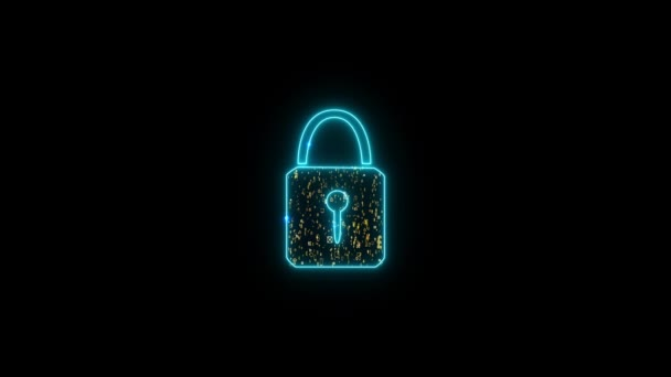 Security digital lock socail media icon paticle gold tone explosive motion technology big data and luxury golden currency Dollar Euro Yen Yuan Pound symbol background on black screen