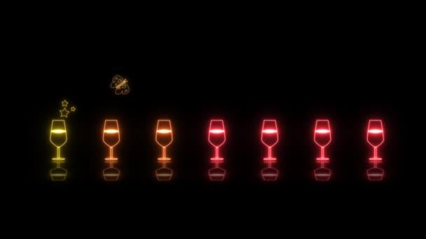Színes kis pezsgő üveg fény neon jel elemek vicces tánc hurok visszaverődés és pillangó eszik szivárvány bor fekete képernyőn