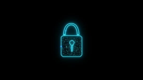 Security lock binary digital paticle explosive fire hot color random number motion abstract technology background on black screen