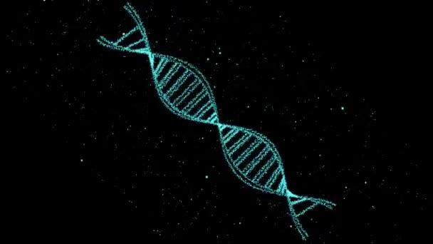 DNA digital structure science biotechnology abstract 3D rotate and cell particles moving around