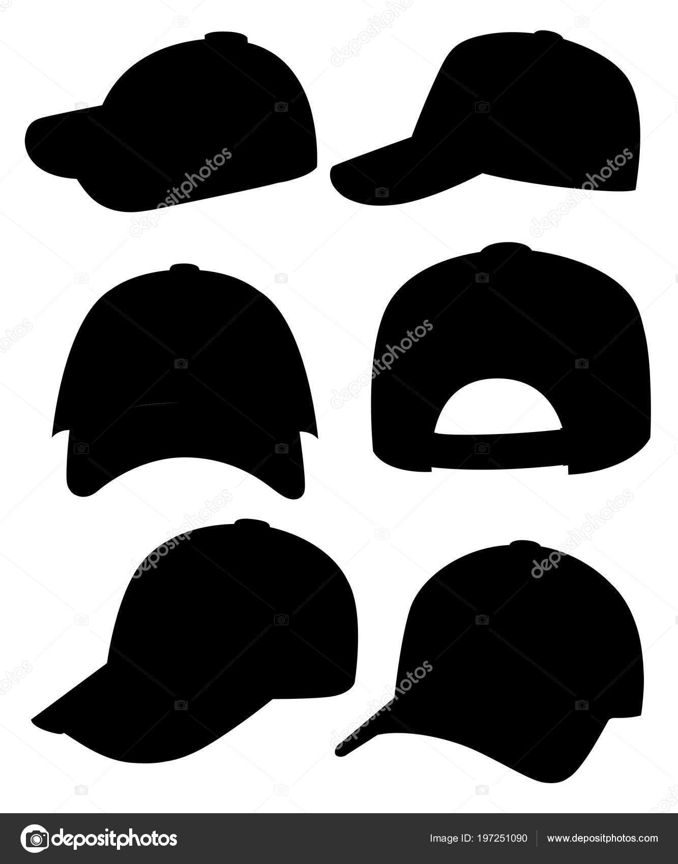 d7996a2e1dd4 Silueta Negra Gorra Béisbol Colección Gorras Diferentes Sombreros ...