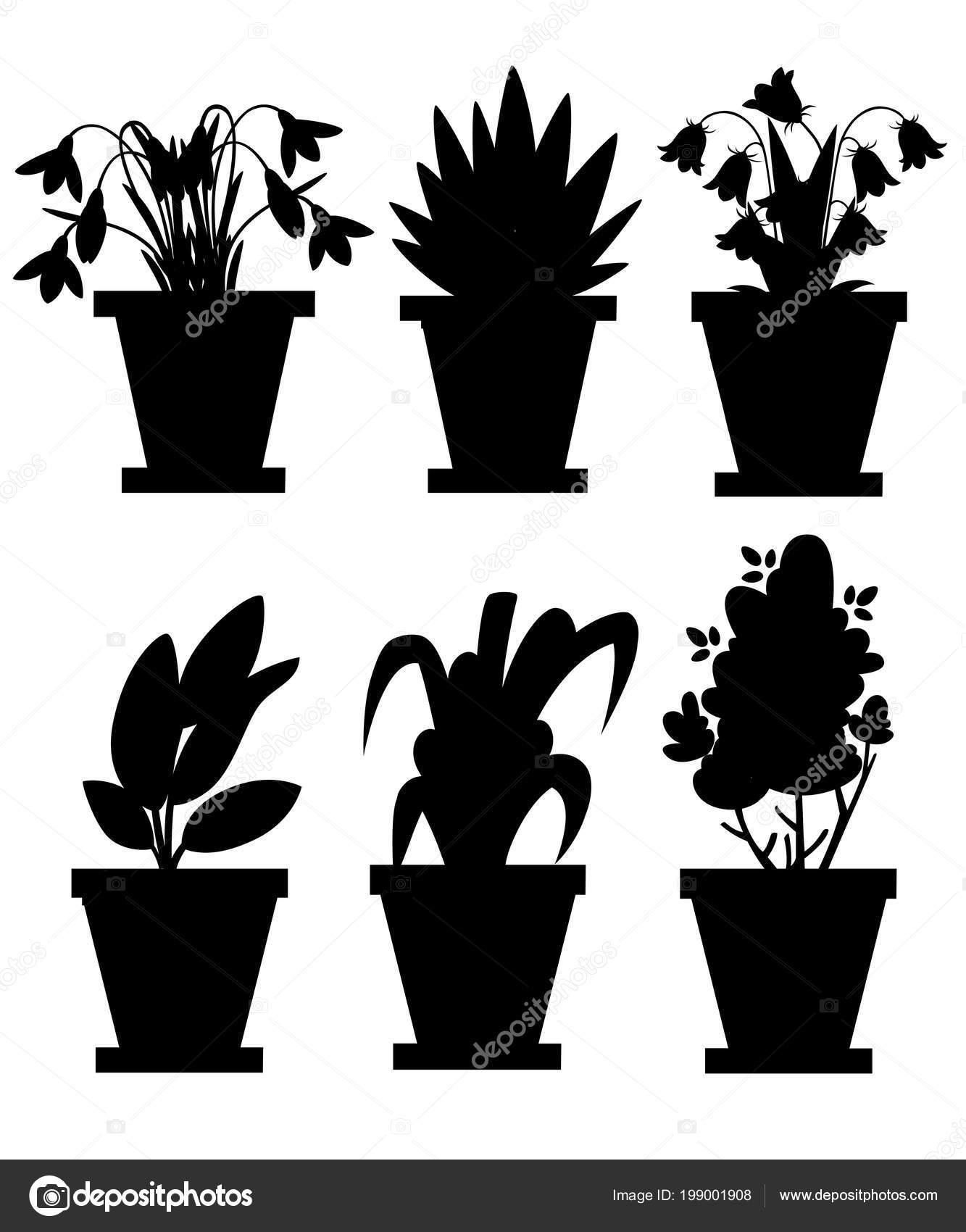 Black Silhouette Set Flowers Pots Indoor Outdoor Landscape Garden