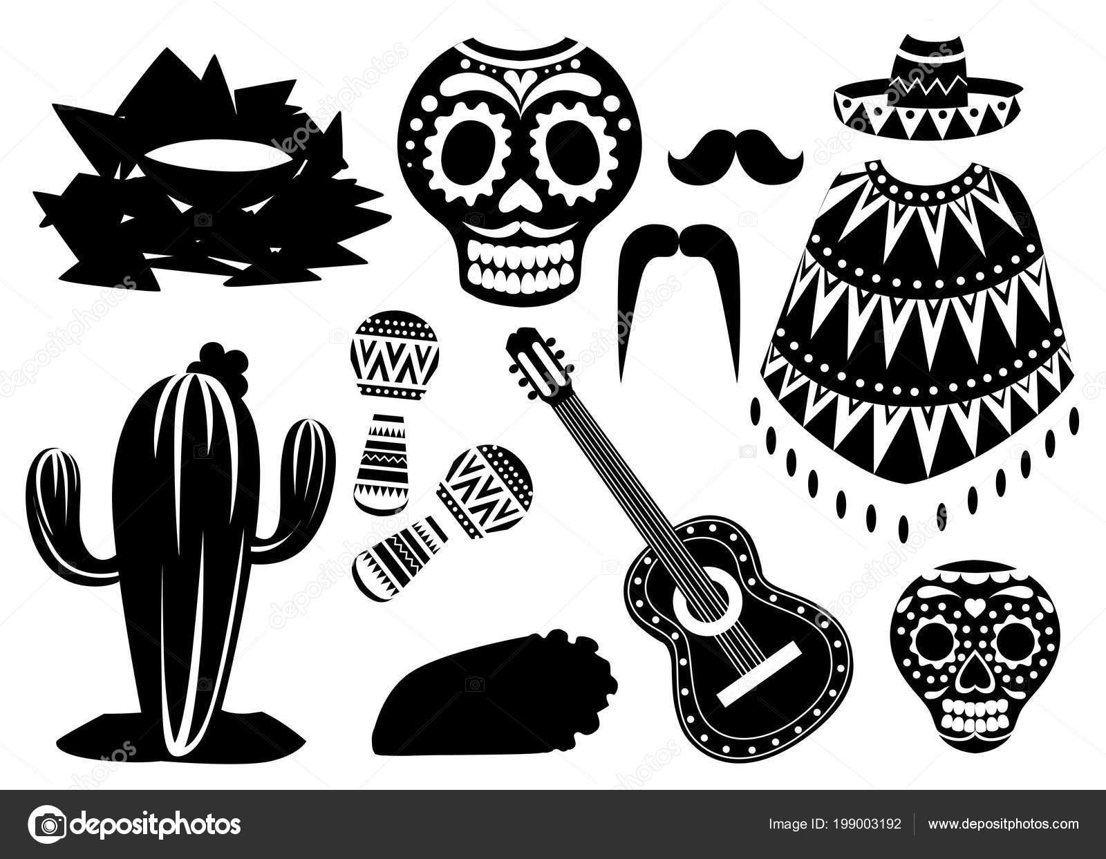 Símbolos México Blanco Negro Conjunto Iconos Vector