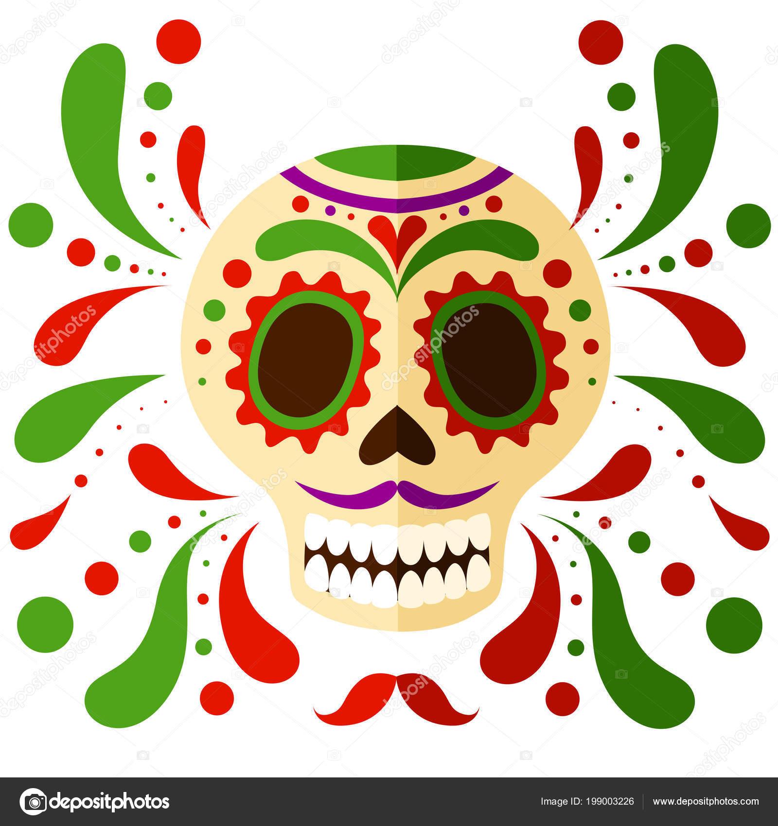 Máscara Calavera Mexicana Colorido Día Los Muertos Calavera Estilo