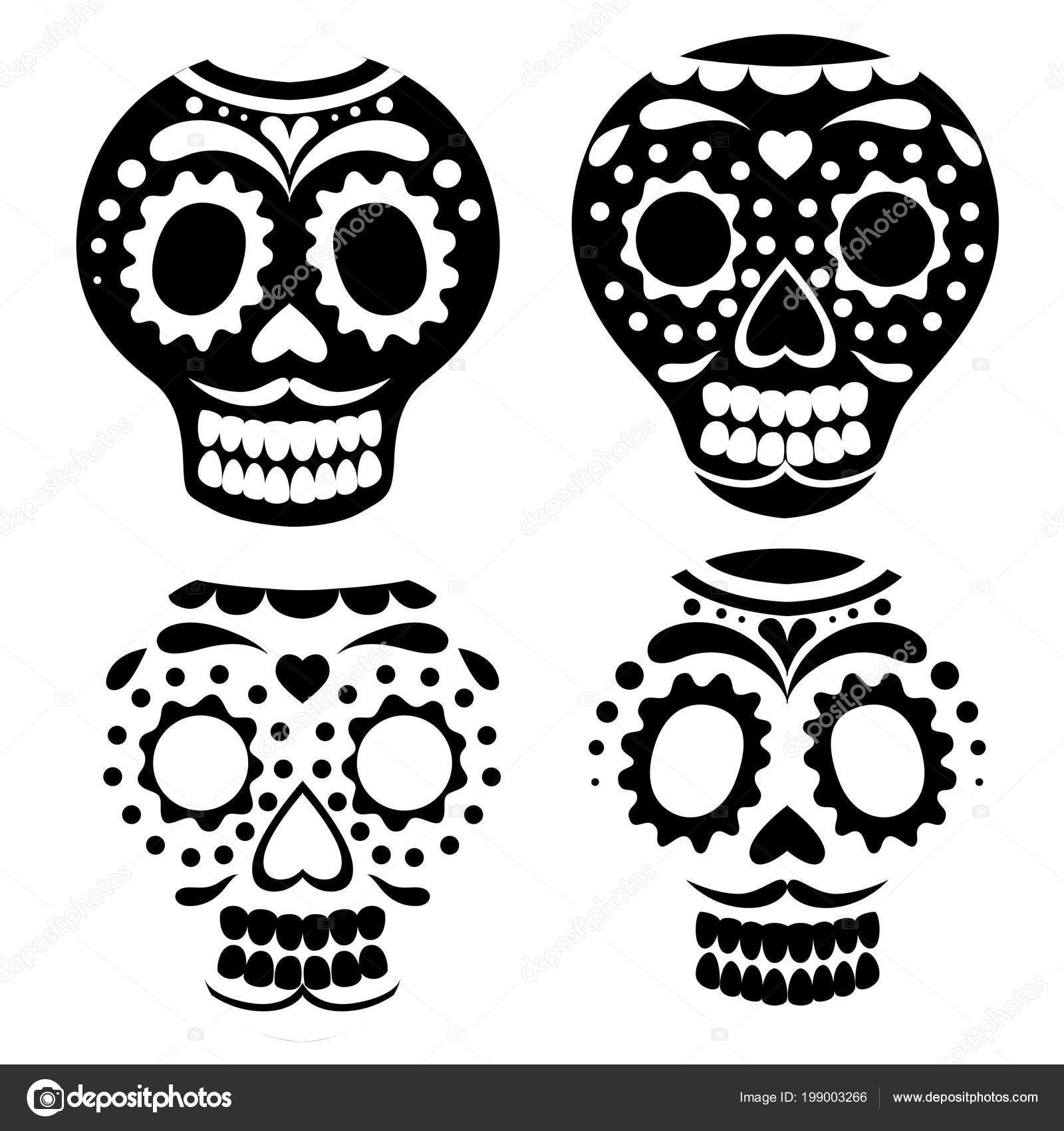 Silueta Negra Colección Máscara Calavera Mexicana Día Los Muertos