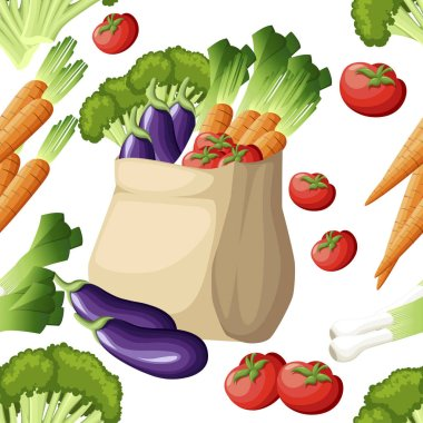 Seamless pattern. Eco friendly paper bag. Recycled shopping bag with vegetables. Recycled pack with fresh organic food. Healthy vegetables grown locally. Vector illustration on white background. icon