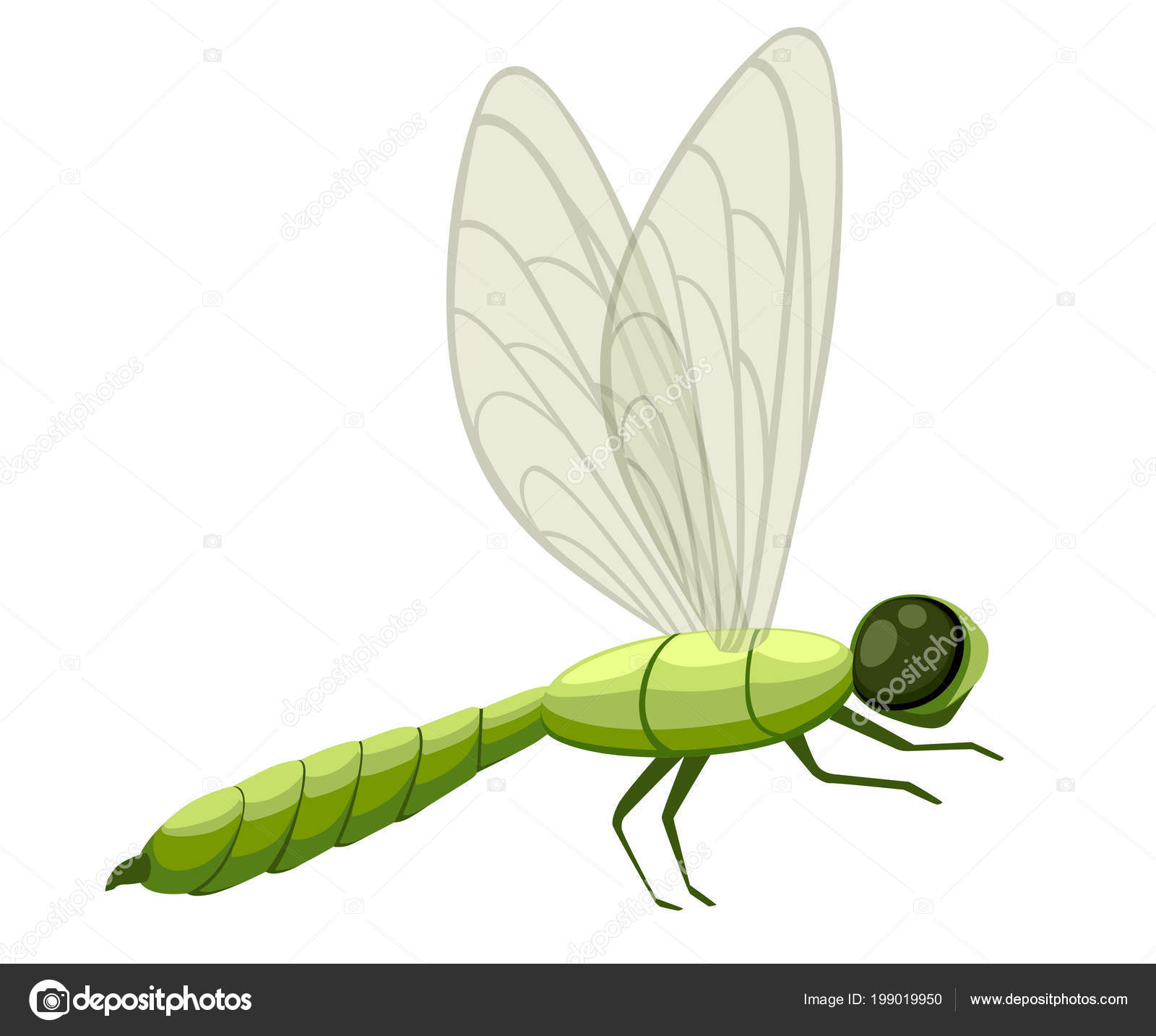 Green Cartoon Dragonfly Illustration Fly Insect Wildlife Object Flat
