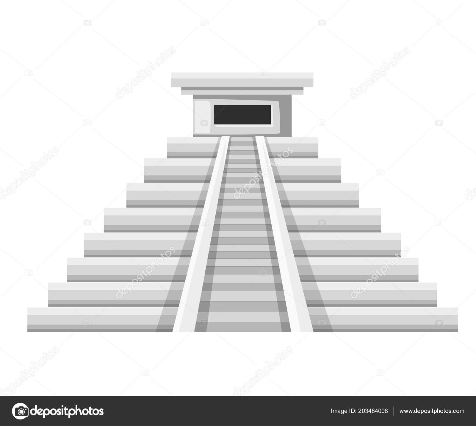 a643bca709ba Aztec Pyramid Icon Flat Vector Illustration Old Stone Temple Mexican ...