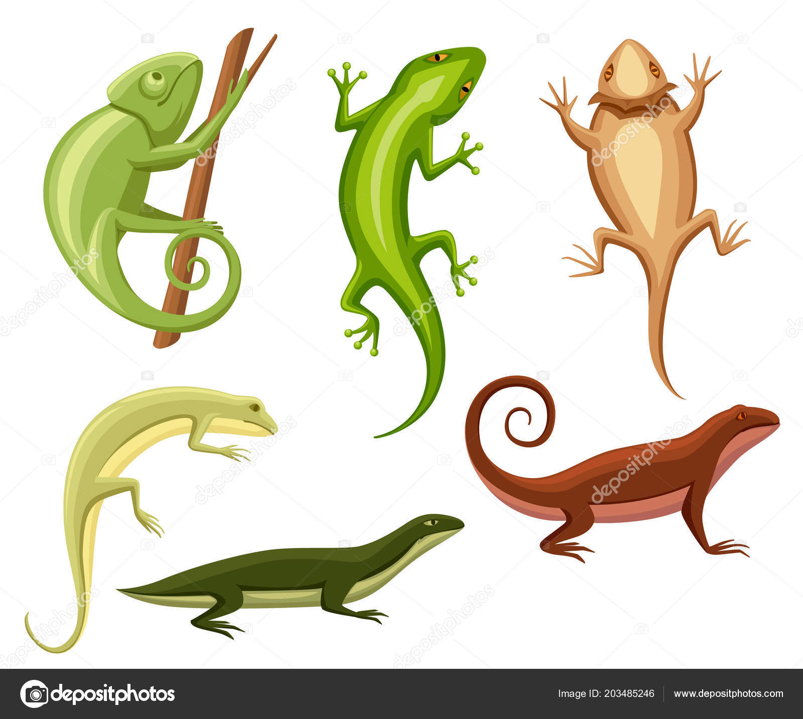 6eb10a52715e1 Flat lizards collection. Cartoon chameleon climb on branch. Small lizards  Animal flat icon collection. Vector illustration isolated on white  background.
