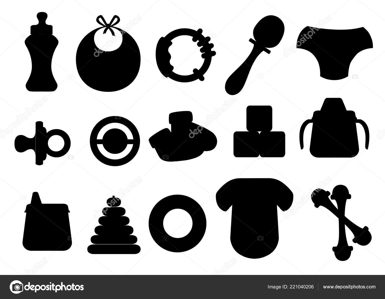Black Silhouette Baby Icons Set Baby Toys Bottles Soother Symbols