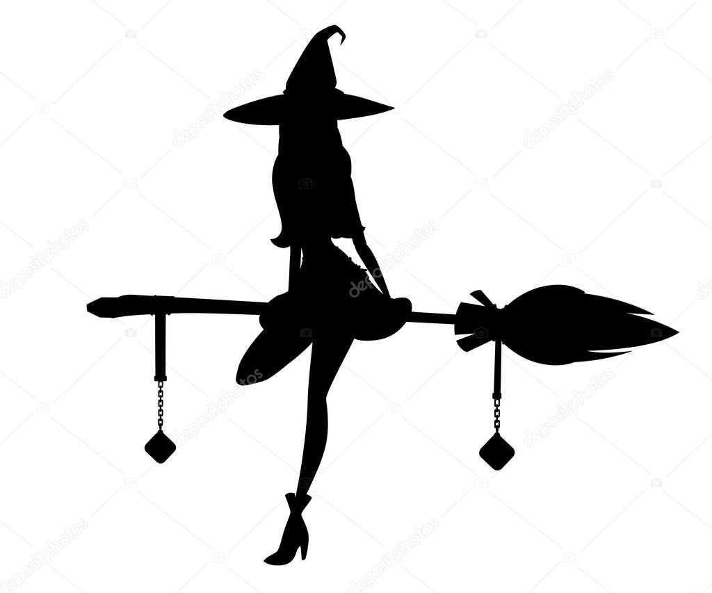 Black Silhouette Cute Blonde Witch Sit On Flying Broom Witch Hat And Clothes Cartoon Character Design Beautiful Women Flat Vector Illustration Isolated On White Background Premium Vector In Adobe Illustrator Ai