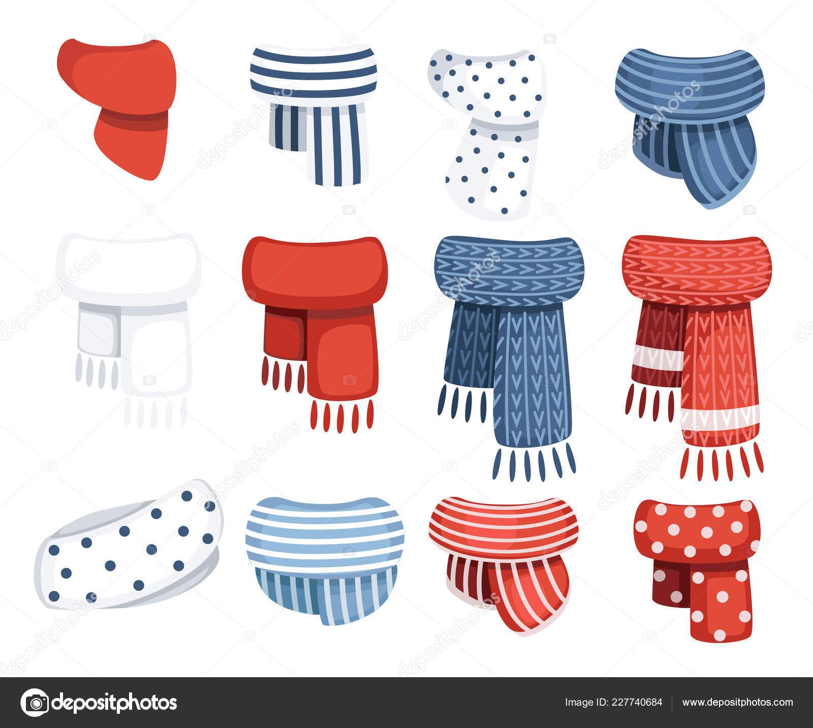 Set di sciarpe per ragazzi e ragazze in tempo freddo. Vestiti di stile di  inverno. Sciarpe con modello diverso. Piatto di vettore isolato su priorità  bassa ... 7325de6199a