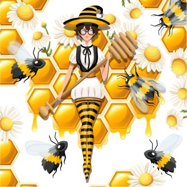 Cute brown hair honey witch flying with bees. Female holding honey dipper, magic wand. Striped bee style costume. Flat vector illustration on white background with honeycomb and chamomile.
