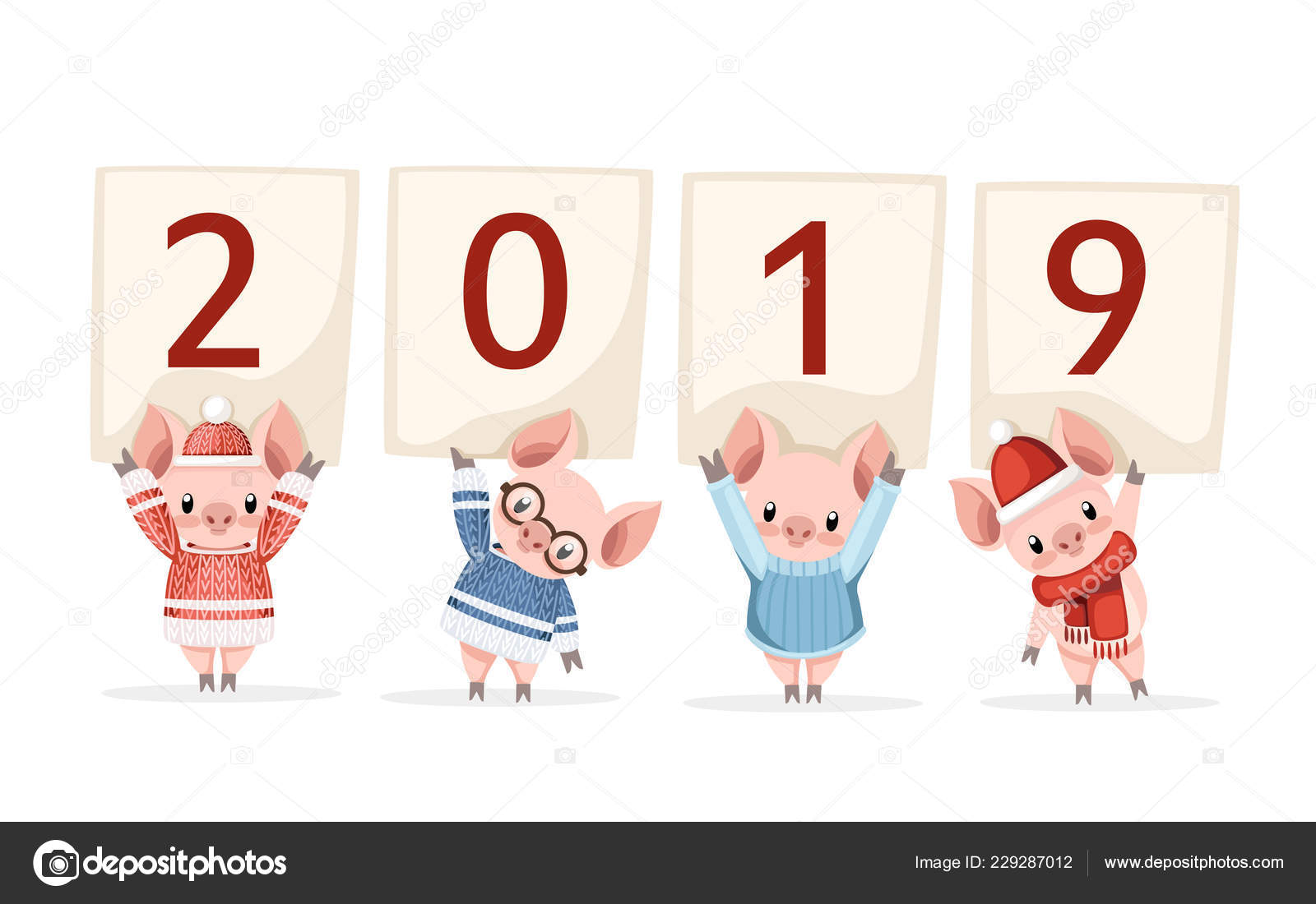 56d6dbc07d79 Four Cute Pigs Warm Knitted Winter Clothes Holding 2019 Cartoon — Stock  Vector