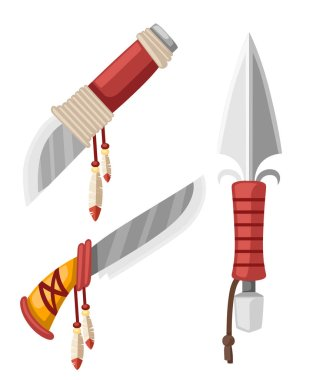 Set of daggers and knives Native American Indian. Cold steel arms with leather and feathers design. Flat vector illustration isolated on white background.