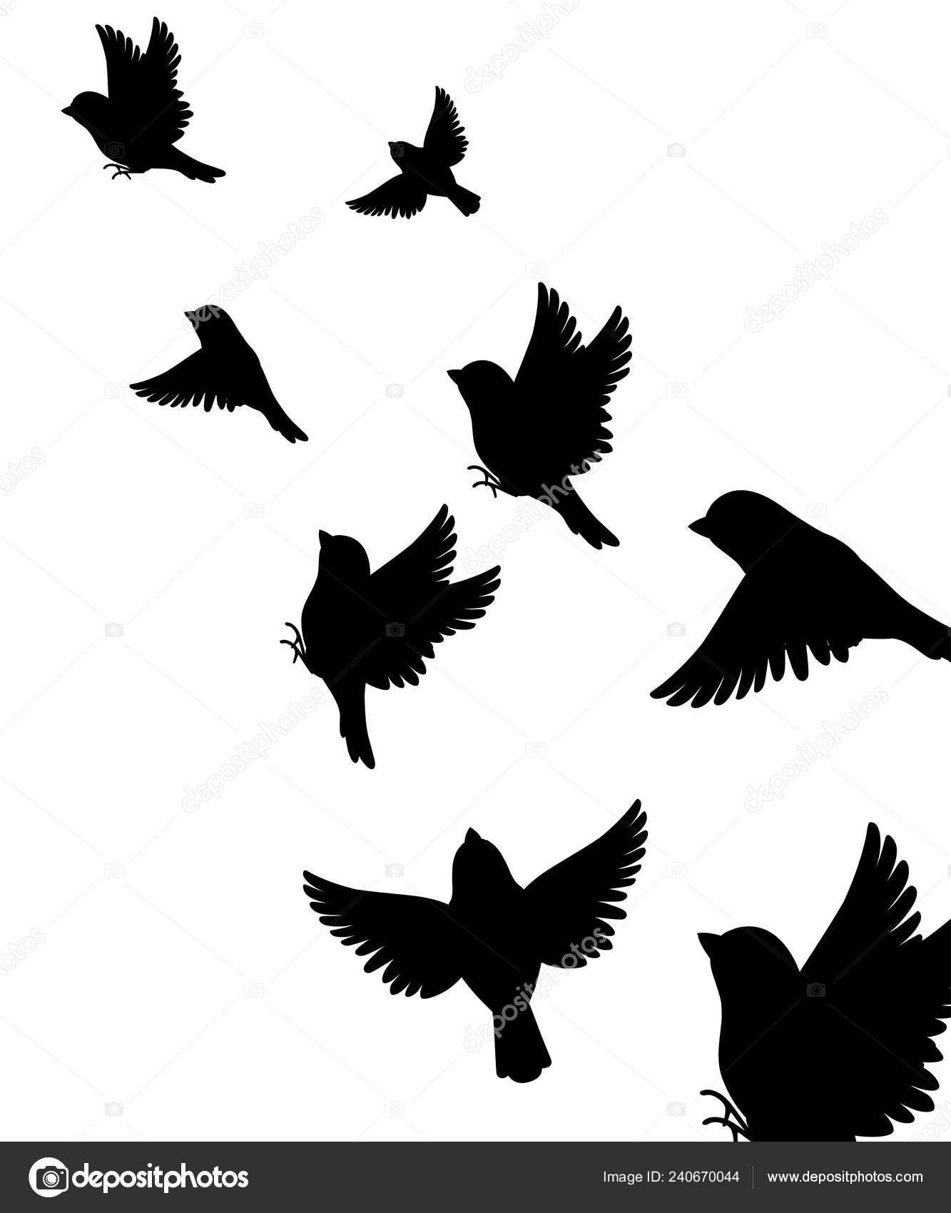Aninimal Book: Abstract Illustration Many Sparrow Bird Flying Black ...