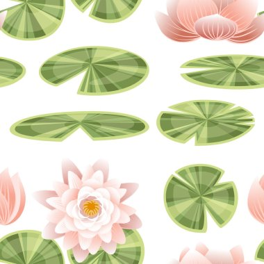 Seamless pattern set of lily lotus parts flat vector illustration on white background