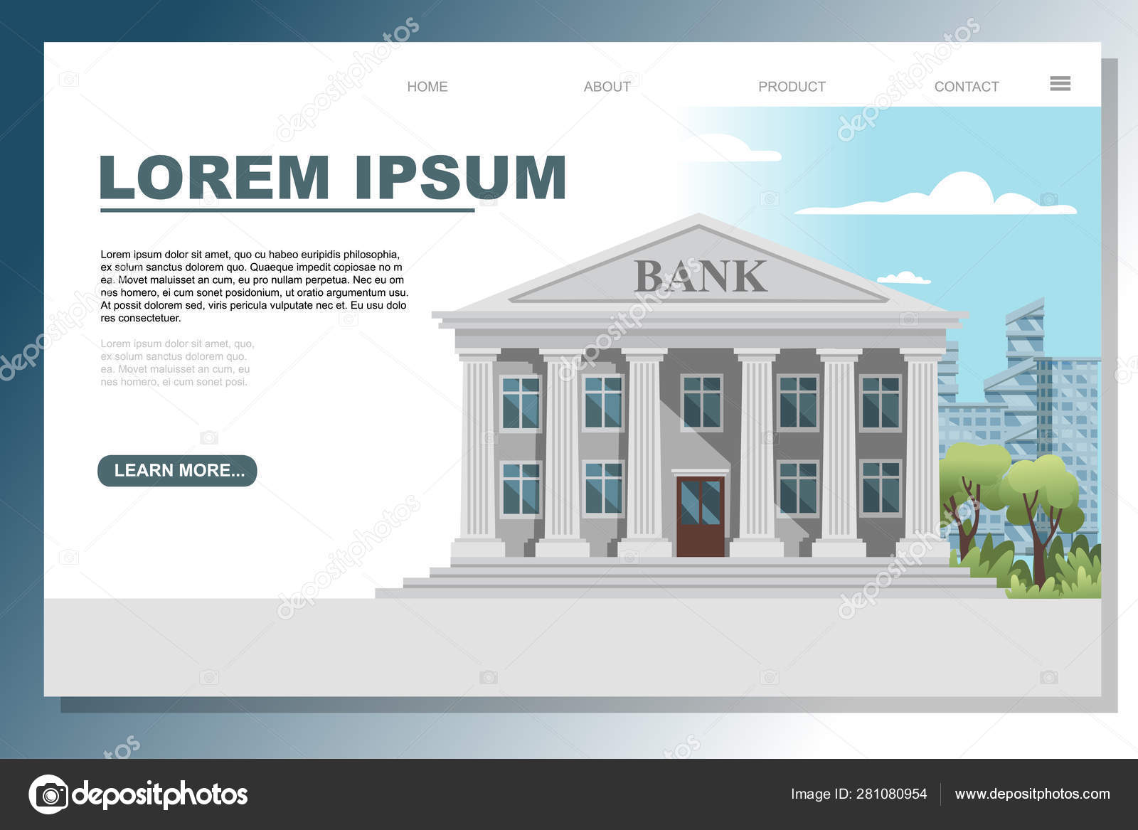 Retro Design Bank.Flat Design Retro Bank Building With Columns And Windows Vector
