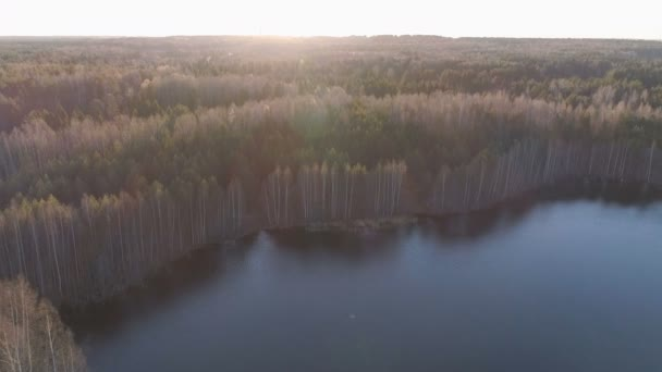 Krásná krajina s lesem a rybníkem při západu slunce. Krásné sluneční světlo. Letecký pohled