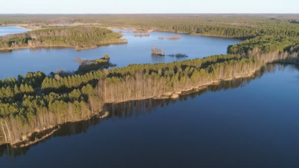 Picturesque landscape with forest and pond at sunset. Beautiful sunlight in spring. Aerial view.