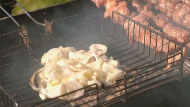 Chutný cibule a šťavnaté vepřové barbecue pečená na špízy na gril na dřevěné uhlí. Plátky masa detail