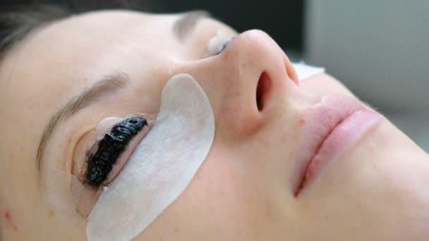 Kosmetické ošetření. Closeup Zenske obličej barvou na řasy. Laminování řasy. Boční pohled