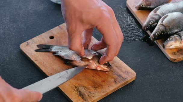 Muž, kuchání ryb kapra. Vaření ryb. Rukou detail
